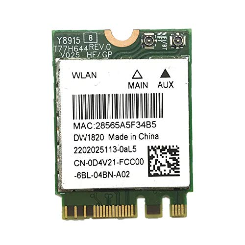 Wireless Adapter Card for Atheros QCNFA344A DW1820 802.11ac Bluetooth 4.1 867Mbps M2...