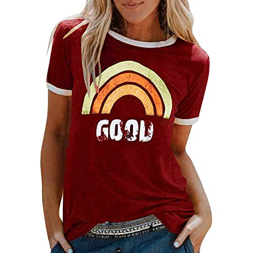 Inawayls Women's Good T-Shirt Rainbow Pattern Shirt Round Neck Short Sleeve Top for Summer, Graphic Print