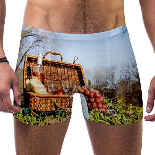 Lorvies Picknick-Korb mit Flasche, Weintrauben, Herren-Badeanzug, kurz, quadratische Beine, schnell trocknend, Größe S Gr. S 7-9, multi