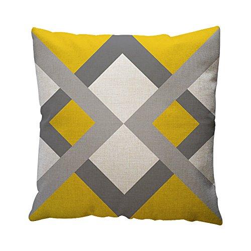 Cojines amarillos con gris para sofá o cama