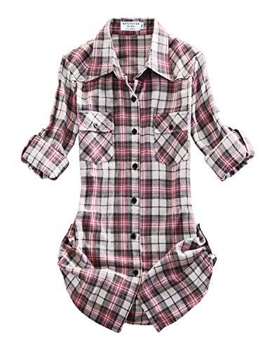 Matchstick Damen Flanell Kariert Shirt #B003(2021 Checks#9,Large(Fit 38''-40''))