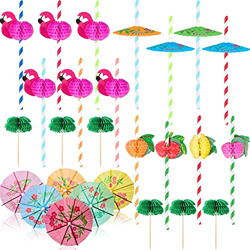 110 Stücke Cocktail Strohhalme Party Dekorationen, Cocktail Strohhalme Flamingo Waben Strohhalme Ananas Trinkhalme Fruchtpapier Strohhalme Papier Regenschirm Sticks Holz und Papier Palme, Mischfarbe