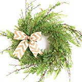 20' Wreath for Front Door with Knotted Bow, Handcrafted Wicker Rattan...