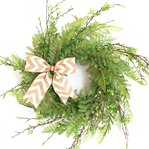 20' Wreath for Front Door with Knotted Bow, Handcrafted Wicker Rattan Loop Frame - Faux Home Decorative Display - Rustic, Farmhouse Decor