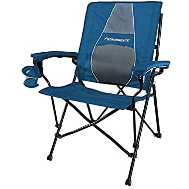 STRONGBACK Elite Folding Camping Chair with Lumbar Support, Blue