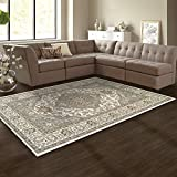 SUPERIOR Glendale Collection Area Rug - Traditional Brown Oriental Rug, 8 mm Pile, Jute Backing Floor Rug, Green, 4' x 6'