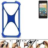 K-S-Trade® Handyhülle Für Archos 45b Neon Silikon Schutz Hülle Cover Case Bumper Silikoncase TPU Softcase Schutzhülle Smartphone Stoßschutz, Blau (1x),