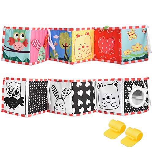 SOSPIRO Double-Sided First Book Child Clip-on Book Cot & Pram Use Child's First Double Sided Book Development Puzzle Animal Cloth Book Toy Best Gift for Child(owl)