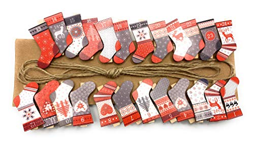 Adventskalender Socke Strumpf zum Hängen mit Klammer Holz Rot Grau Weiss