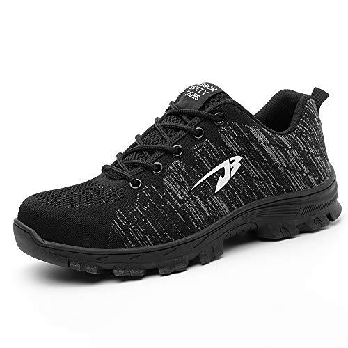 Chaussure de Sécurité Homme Femme Chaussures de Travail en Acier Toe léger Respirant Anti-crevaison Chaussures de Protection Outdoor Hiking Trekking Casual Sneakers, Noir, 43 EU