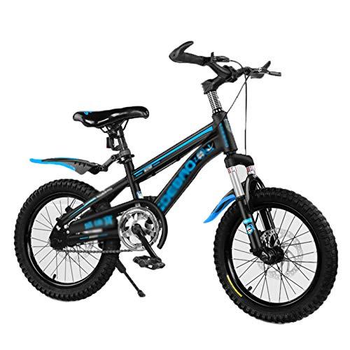 CHUNLAN Bicicleta Para Niños Con Soporte De Pie Y Ruedas De Entrenamiento Bicicleta De Montaña Función De Freno De Disco Dual Seguridad Probada 95% Premontado 14/14/16(Size:16 INCHES ,Color:AZUL)