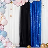 Sequin Curtain 2FTx7FT Royal Blue ONE Panel-Photo Booth Wedding Props-Sequin Fabric Backdrop for Weddings Party Curtains Decorations-2FTx7FT (Royal Blue)