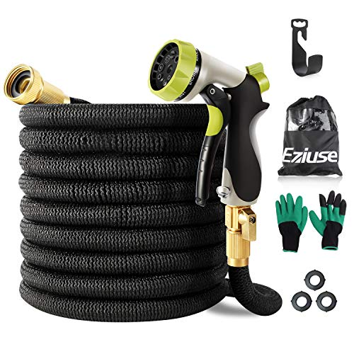 Eziuse 50ft Expandable Garden Hose with Brass Spray Nozzle Retractable Water Hose Pipe with Triple Latex 8 Function Spray Collapsible Shrinking Hose