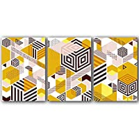 """ウォールアート幾何学的抽象ポスタープリントモダンブラウンとイエローアートキャンバス絵画リビングルームの装飾のための幾何学的な壁(50x70cm / 19.7 """"x27.6"""")x3フレームレス"""