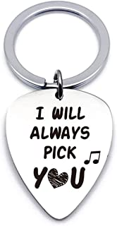 Best Love Guitar Pick Gifts - Stainless Steel Guitar Pick Keychain Keyring - Perfect Love Gift Ideas for Him Her Men Women...
