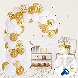 Kit Arco y Guirnalda de Globos | Globos color Blanco y Dorado | Ata Globos, Cinta para Globos y Gotitas Adhesivas | Decoración para Bodas, Baby Showers, Fiestas de Cumpleaños o Bautizos