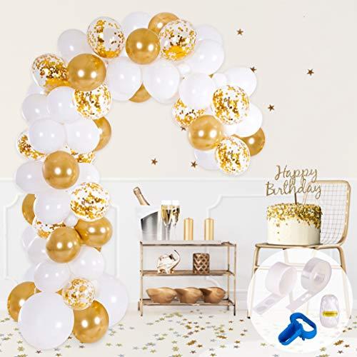PartyBro Kit Arco y Guirnalda de Globos | Globos Color Blanco y Dorado | Ata Globos, Cinta para Globos y Gotitas Adhesivas | Decoración para Bodas, Baby Showers, Fiestas de Cumpleaños o Bautizos