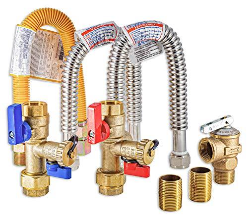 "Metpure TKLS-CK Tankless Water Heater natural propane gas Isolation Valve 3/4"" Kit | Compatible Noritz Rheem Rinnai Takagi Navien Service Flushing Valves| Lead-Free Complete Easy to Install Flush Kit"