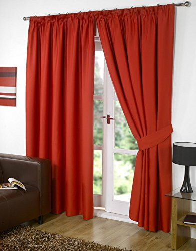 RAYYAN LINEN Thermal Pencil Pleat Blackout Tape Top Pair of Curtains With Free Tiebacks (46' X 54', Red)