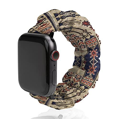 Correa de reloj de textura de tela clásica de poliéster para Apple Watch, adecuada para mujeres y parejas, bandas elásticas compatibles con SE 6, 5, 4, 3, 2 1, 38mm/40mm,