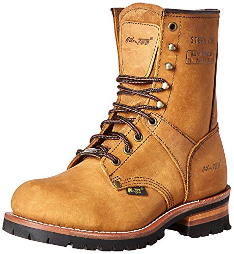 AdTec 9 Inch Super Logger Steel Toe Boots for Men, Leather Goodyear Welt Construction & Utility Footwear, Durable and Long Lasting Work Shoes, Lug Sole, Brown