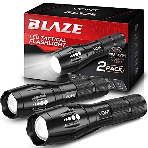 Vont 'Blaze' Tactical Flashlight (2 Pack) LED Flashlights, Extremely Bright Flash Light, High Lumen, Adjustable Beam, Water-Resistant, Gear & Accessories for Hiking, Camping, Survival, Emergency