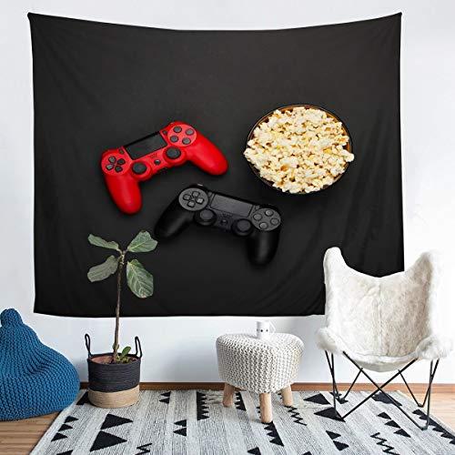 Gamepad - Manta de Pared, de Palomitas de maíz,y Videojuegos, Juego de Videojuegos,Colgar en la Pared, Moderno, Controlador de Juego, Manta de Cama, Manta roja y Negra, Talla Grande de 152 x 201