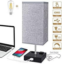 Touch Control Table Lamp, 3 Way Dimmable Bedside Lamp with Type C/USB Charging Port and 2 AC Outlets, Grey Fabric Shade Modern Nightstand Lamp for Bedroom Living Room Office, LED Bulb Included(1 Pack)