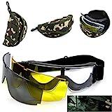 Tactical Airsoft occhiali di sicurezza, airsoft paintball shooting di sicurezza occhiali, occhiali protettivi con 3intercambiabili multi Lens (nero + trasparente + giallo), con borsa per il trasporto, mimetica
