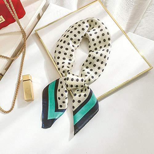 Bufandas Bufanda Lunares Rayas Seda Bufanda Mujer Primavera y Verano Decorativo Bufanda de Seda Moda Dulce Profesional Pequeña Bufanda Mujer-Dot Verde_70*70cm