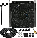 American Volt Heavy Duty 11' Transmission Oil Cooler w/ 9' Inch Electric Fan Kit High Performance Truck RV Towing