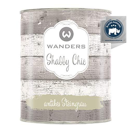 Wanders24® Kreidefarbe (750 ml, antikes Steingrau) Holzfarbe für Shabby Chic Look - Möbelfarbe einfach zu verarbeiten - Möbellack auf Wasserbasis - Made in Germany