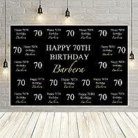 ブラックゴールドハッピーバースデーパーティー 70 番目の大人のポスターの装飾 r 背景写真の背景カスタム-250x180CM