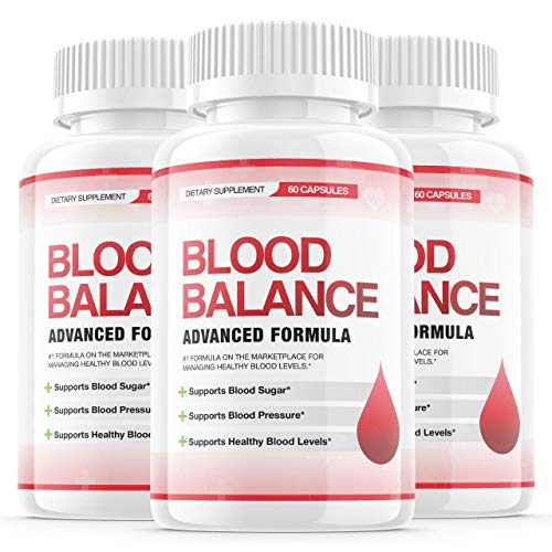 (3 Pack) Blood Balance Advanced Formula Pills, Blood Balance Advance Boost Capsules - Sugar Balance Supplement for High Blood Pressure - Natural Pressure Monitor for Nutrition (180 Capsules)