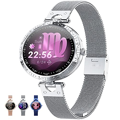 APCHY Women's Smart Watch, 1.09 Pulgadas Fitness Tracker Monitoreo Fisiológico Femenino Modos De Deporte Múltiple, Monitor De Oxígeno De Sangre De Ritmo Cardíaco, Reloj De Salud,Plata