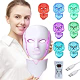 LED Fc Msk Light Therapy - 7 Color Skin Rejuvenation Therapy LED Photon Msk Light Facial Skin Care with Neck Care Anti Aging Skin Tightening Wrinkles Toning Msk.