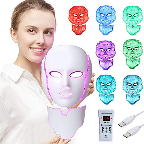 LED Face Mâsk Light Therapy | 7 Color Skin Rejuvenation Therapy LED Photon Mâsk Light Facial Skin Care Anti Aging Skin Tightening Wrinkles Toning Mâsk (For face & neck)