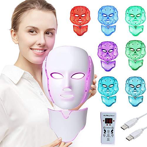 LED Fâcè Mâsk Light Therapy - 7 Color Skin Rejuvenation Therapy LED Photon Mâsk Light Facial Skin Care with Neck Care Anti Aging Skin Tightening Wrinkles Toning Mâsk