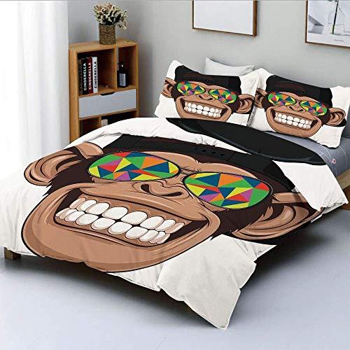 Juego de funda nórdica, Fun Hipster Monkey con gafas de sol de colores y sombrero Rapero Hippie Ape Art Graphic Juego de cama decorativo de 3 piezas con 2 fundas de almohada, Marrón Negro Blanco, Mejo