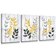 【Original Design】Rustic leaf canvas picture, unique design yellow and grey artwork, great enjoyment to have such beautiful wall arts in your room. 【Strong Wooden Bars】The canvas print is firmly stretched on 3cm wide, 2cm deep/thick wooden bars, doubl...