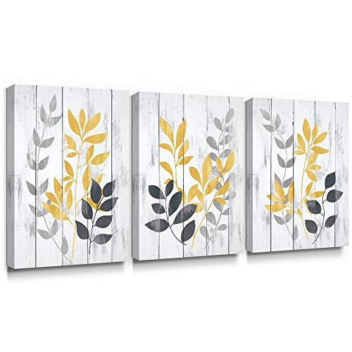 SUMGAR Yellow Wall Art Leaf Flower Canvas Pictures Grey and Mustard Olive Leaves Rustic Print Ochre Plant Vintage Painting Artwork Home Decor for Bathroom Bedroom Living Room 30x40cm, 3 Panels