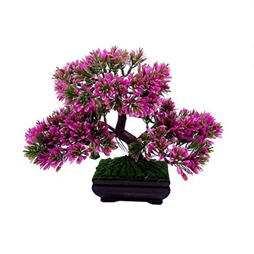 VOSAREA Artificial Bonsai Tree 9.4' Potted Artificial House Plants Fake Plants Decoration for Home Desk Office Decor (Purple Red)