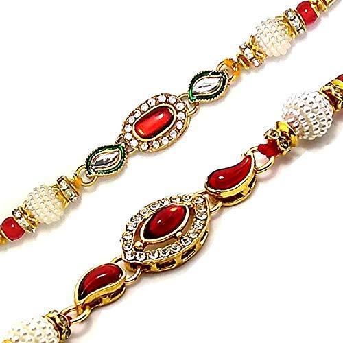 SataanReaper presenta pulseras de regalo de Raksha Bandhan con perlas chapadas en oro para Brother Bhaiya con Roli Tilak Pack #SR-2471