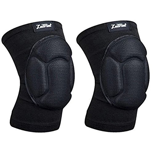 Luwint Youth Volleyball Basketball Knee Pads - High Elastic Non-Slip Sponge Knee Sleeves Brace Support for Gardening Weightlifting Running Gym Yoga, 1 Pair (Black)