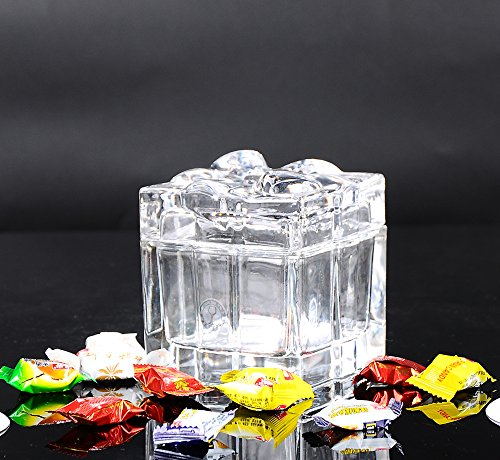 HUAPPO Crystal Candy Box Lead Free Butterfly Style for Sugar Chocolate Nuts Home Bedroom Office Decoration