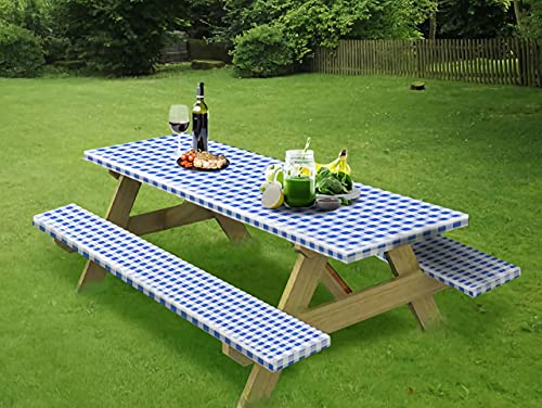 wagude Rectangle Tablecloth Picnic Table Cover - Plastic Checkered Outdoor Tablecloth, Durable Waterproof Fitted Tablecloth with Bench Covers, Elastic Table Cover for Party, Outdoor, Camping (Blue)