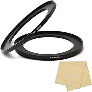 Metal Step Up Ring, 82mm to 105mm 82-105mm Step Rings with Lens Cleaning Cloth, 2 Pieces Step-Up Lens Adapter Ring for Can...