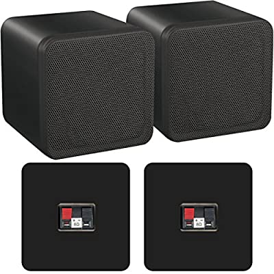 """Pair of 4"""" ABS Bookshelf Speakers - 80W 8Ohm - Black HiFi Surround Sound Home Cinema - Loops from Cablefinder"""