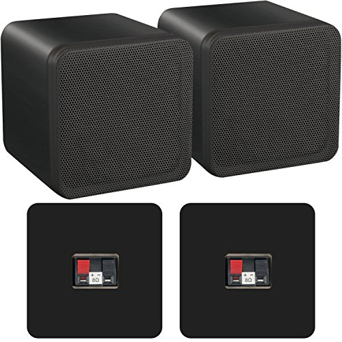"Pair of 4"" ABS Bookshelf Speakers - 80W 8Ohm - Black HiFi Surround Sound..."