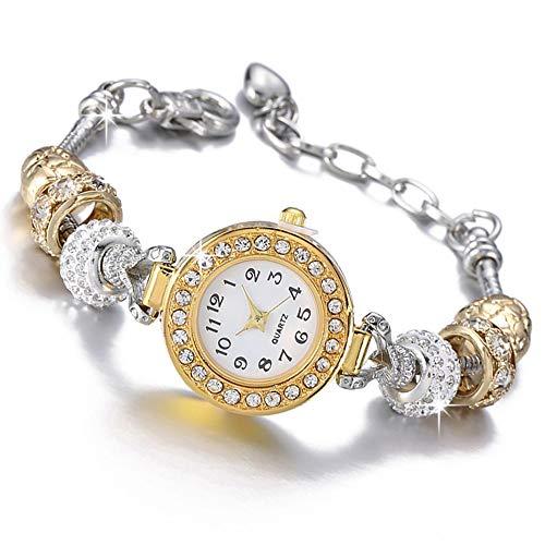 Beloved Orologio braccialetto da donna con cristalli - bracciale con beads argento compatibile pandora - beads in vetro, cristalli e metallo - regolabile fino a 21 cm - quadrante decorato
